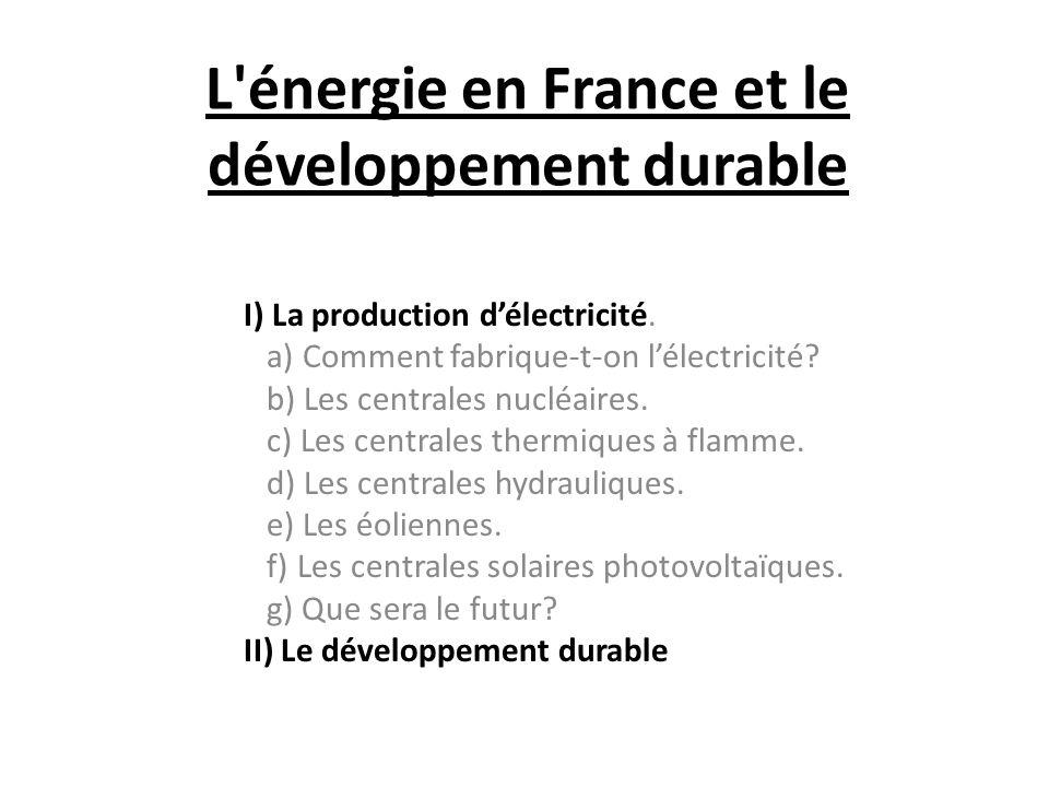 L énergie en France et le développement durable