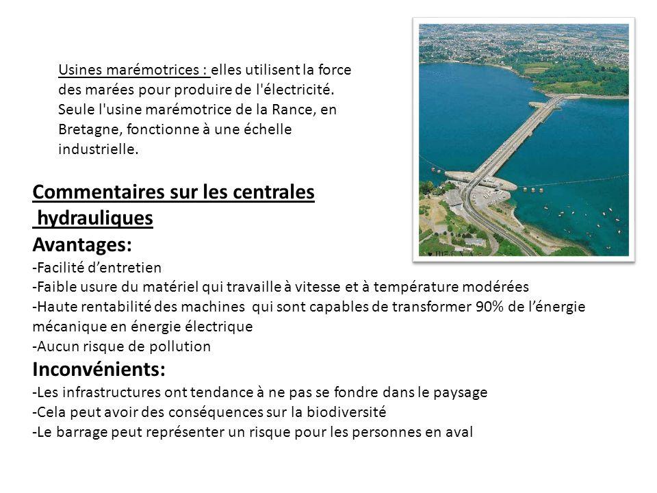 Commentaires sur les centrales hydrauliques Avantages: