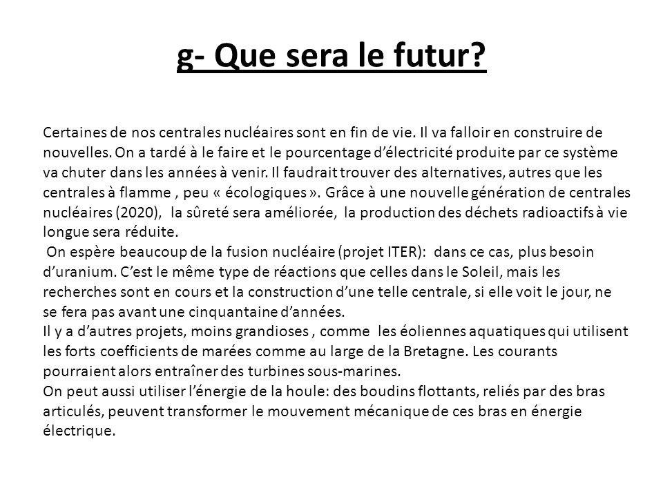 g- Que sera le futur