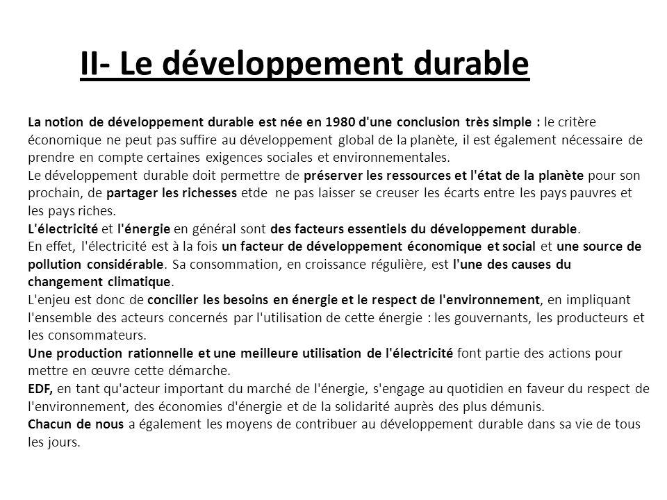 II- Le développement durable