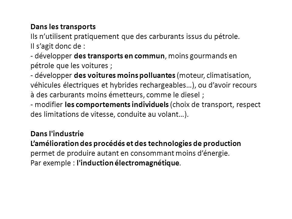Dans les transports Ils n'utilisent pratiquement que des carburants issus du pétrole. Il s'agit donc de :