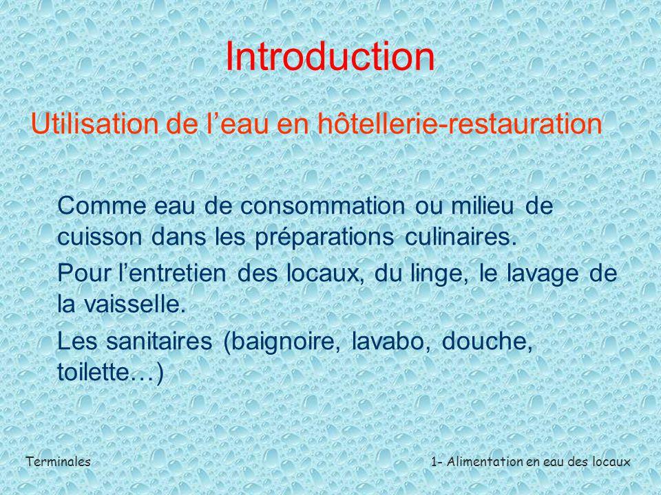 Introduction Utilisation de l'eau en hôtellerie-restauration