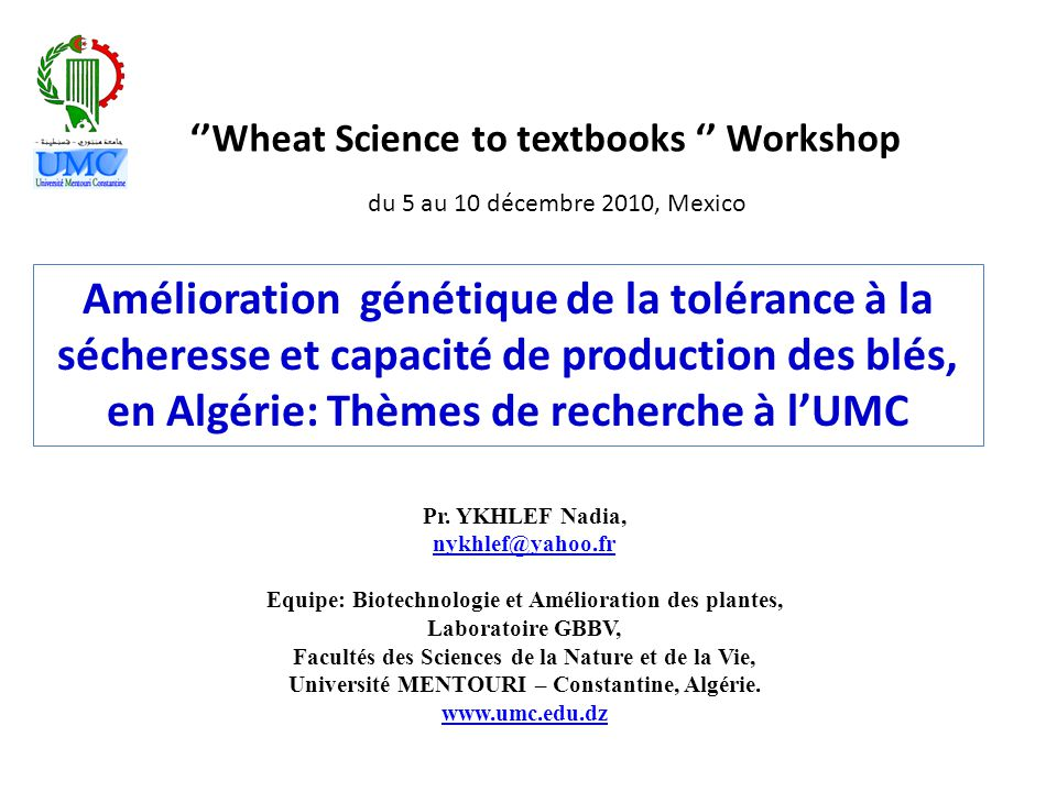 ''Wheat Science to textbooks '' Workshop