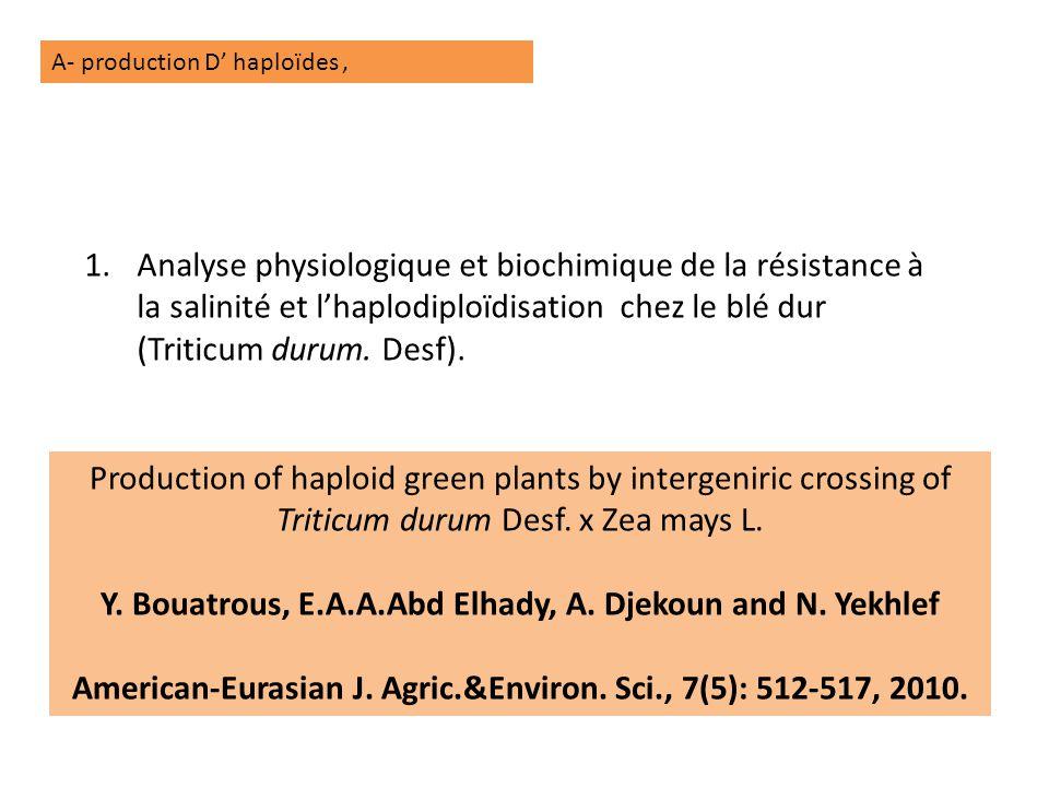 Y. Bouatrous, E.A.A.Abd Elhady, A. Djekoun and N. Yekhlef