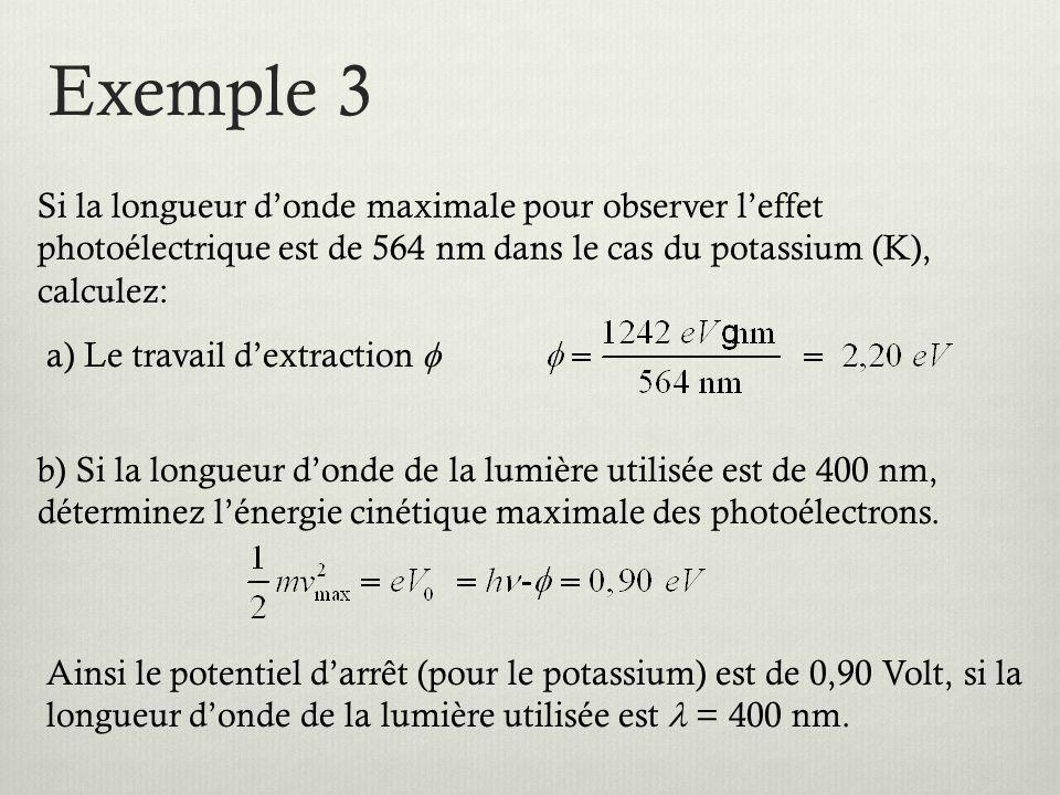 Exemple 3 Si la longueur d'onde maximale pour observer l'effet photoélectrique est de 564 nm dans le cas du potassium (K), calculez: