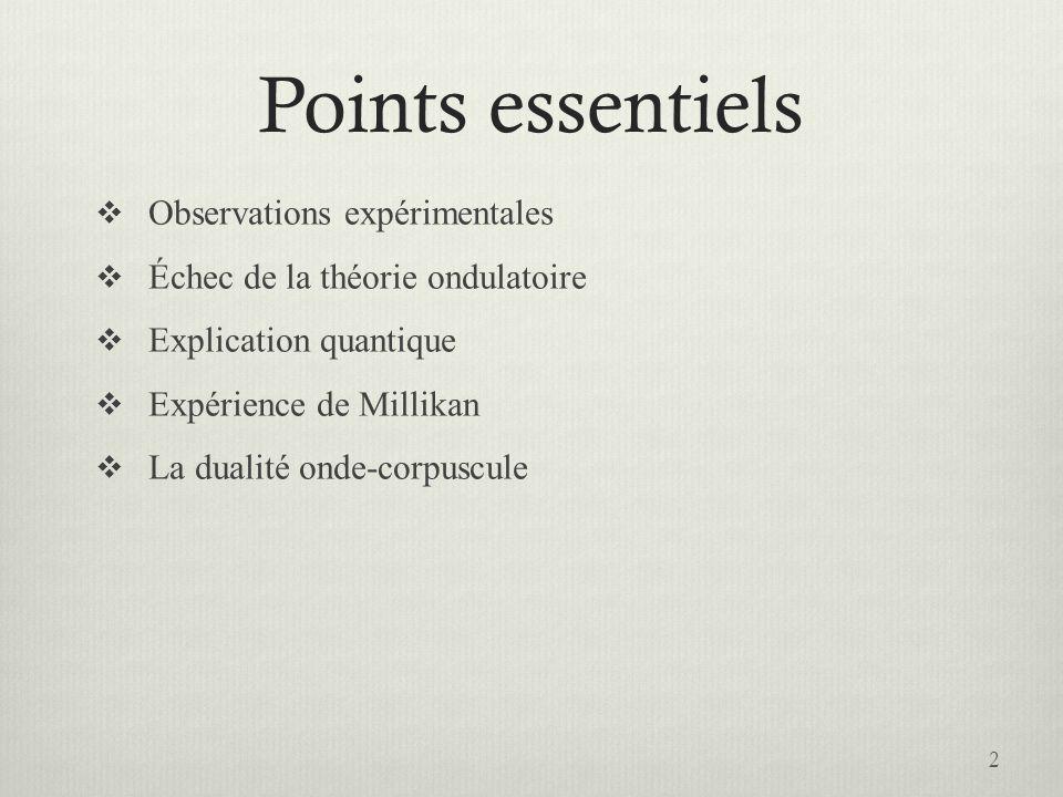 Points essentiels Observations expérimentales