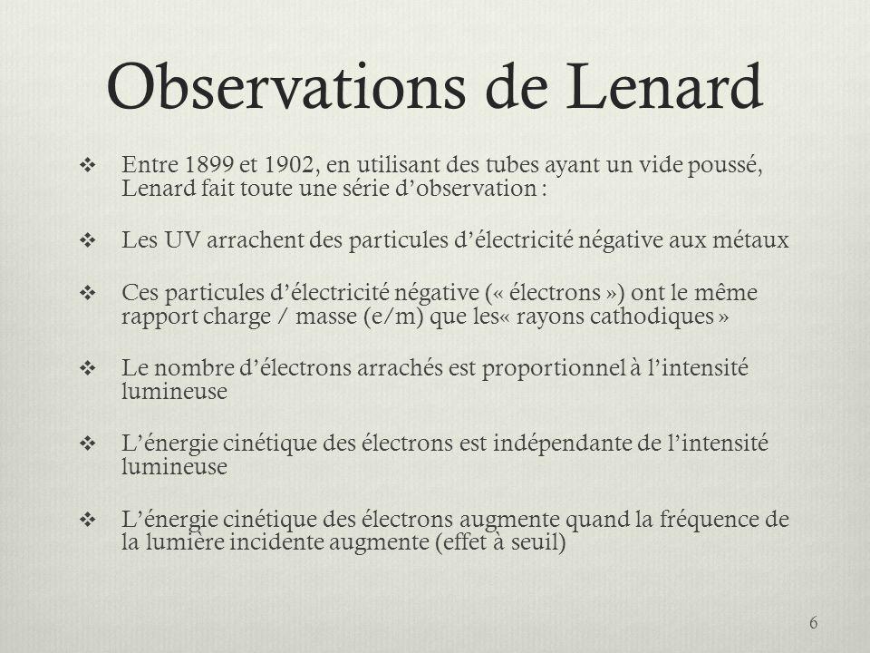 Observations de Lenard
