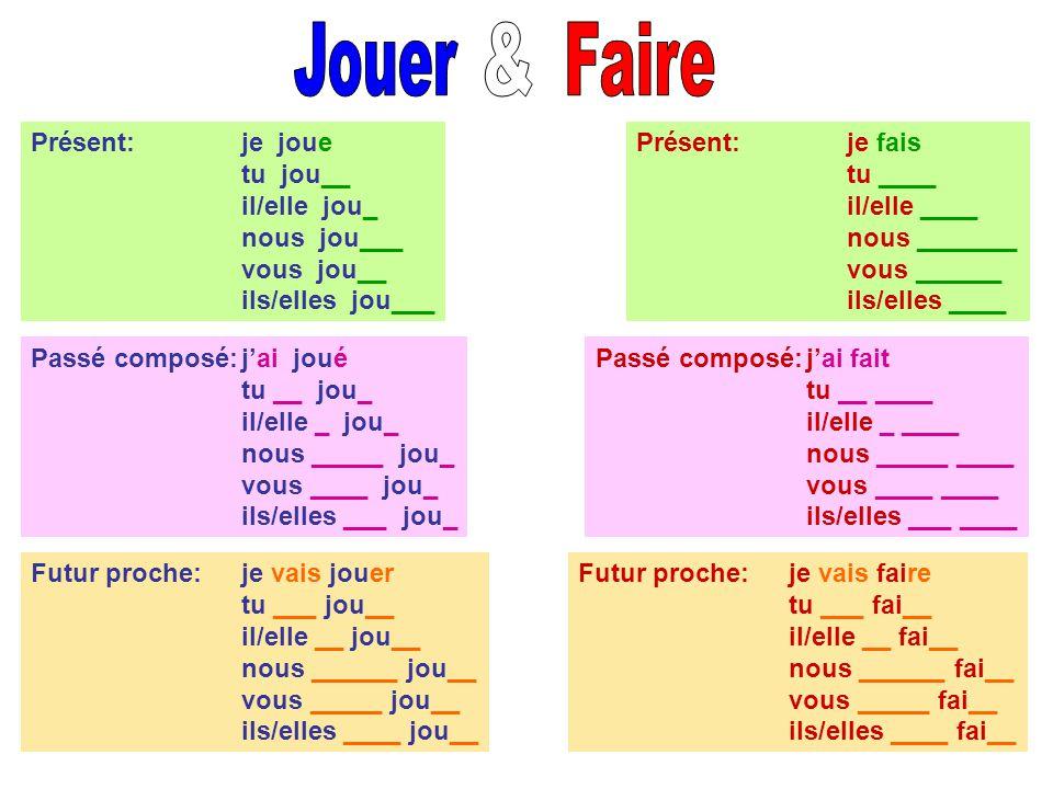 Jouer & Faire Présent: je joue tu jou__ il/elle jou_ nous jou___