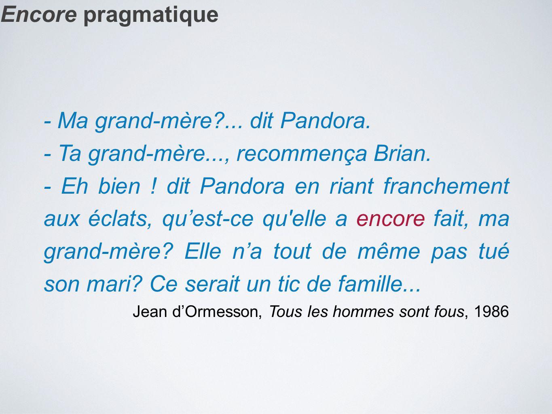 - Ma grand-mère ... dit Pandora. - Ta grand-mère..., recommença Brian.
