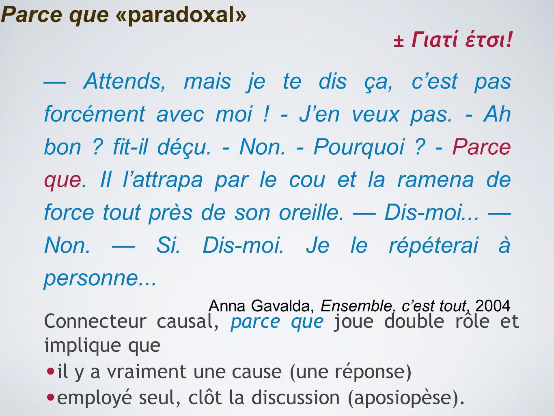 Parce que «paradoxal» ± Γιατί έτσι!