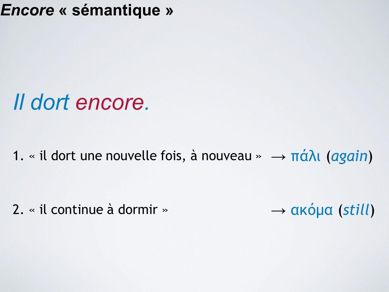 Il dort encore. Encore « sémantique » → πάλι (again) → ακόμα (still)