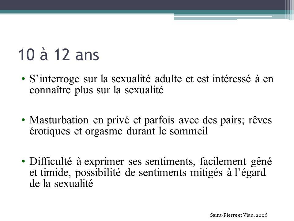 10 à 12 ans S'interroge sur la sexualité adulte et est intéressé à en connaître plus sur la sexualité.