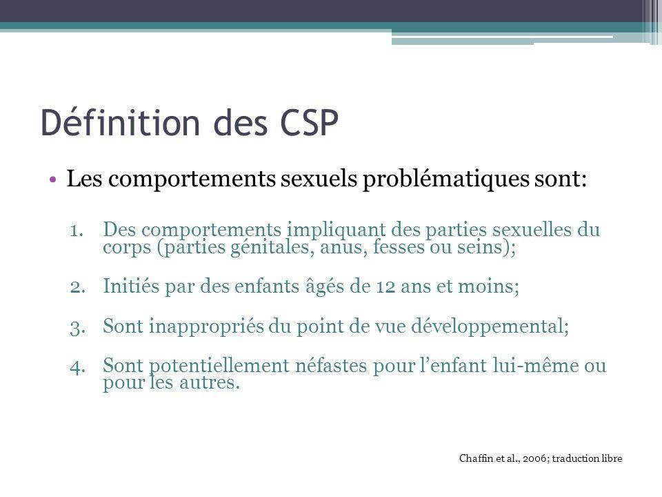 Définition des CSP Les comportements sexuels problématiques sont: