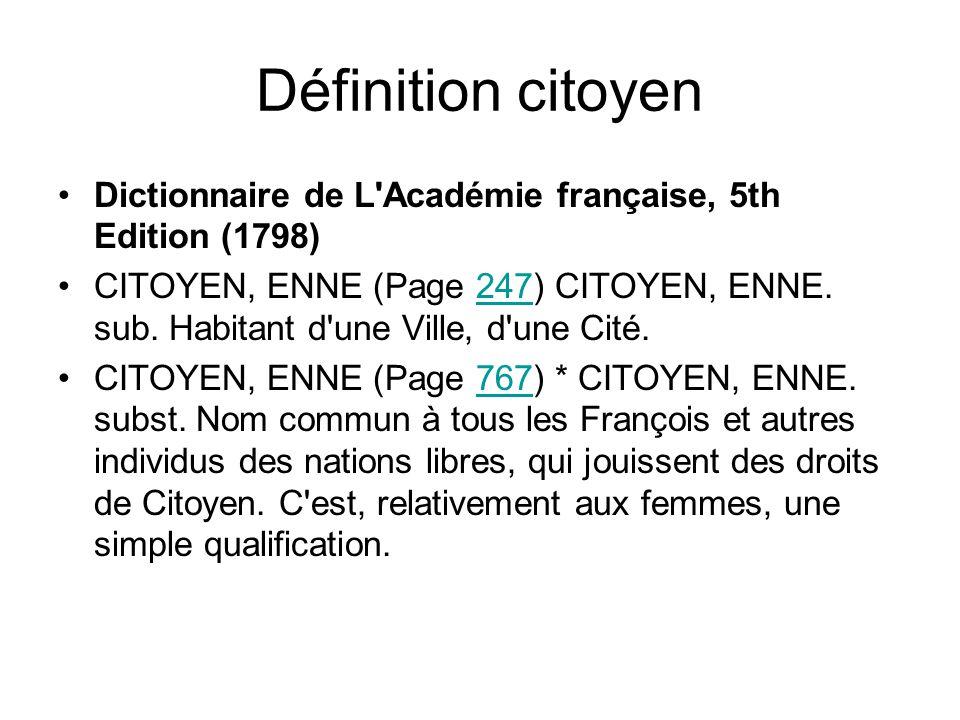 Définition citoyen Dictionnaire de L Académie française, 5th Edition (1798)