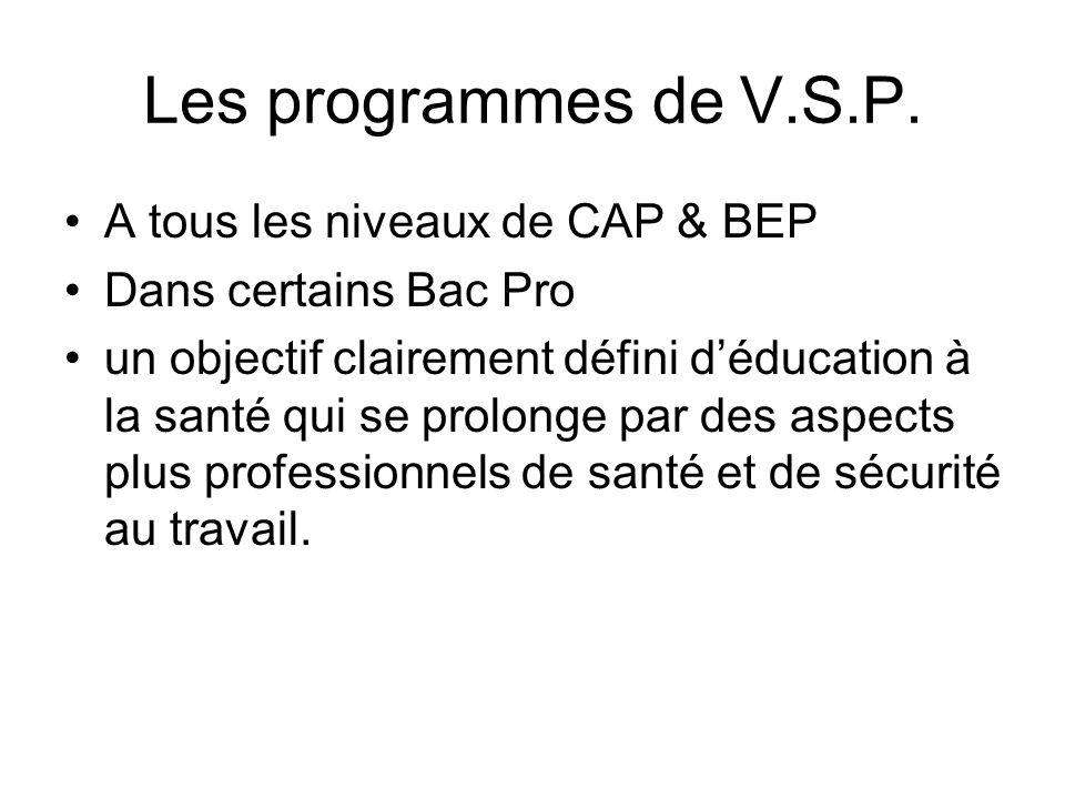Les programmes de V.S.P. A tous les niveaux de CAP & BEP