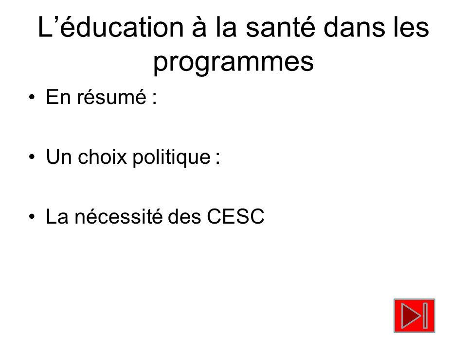 L'éducation à la santé dans les programmes