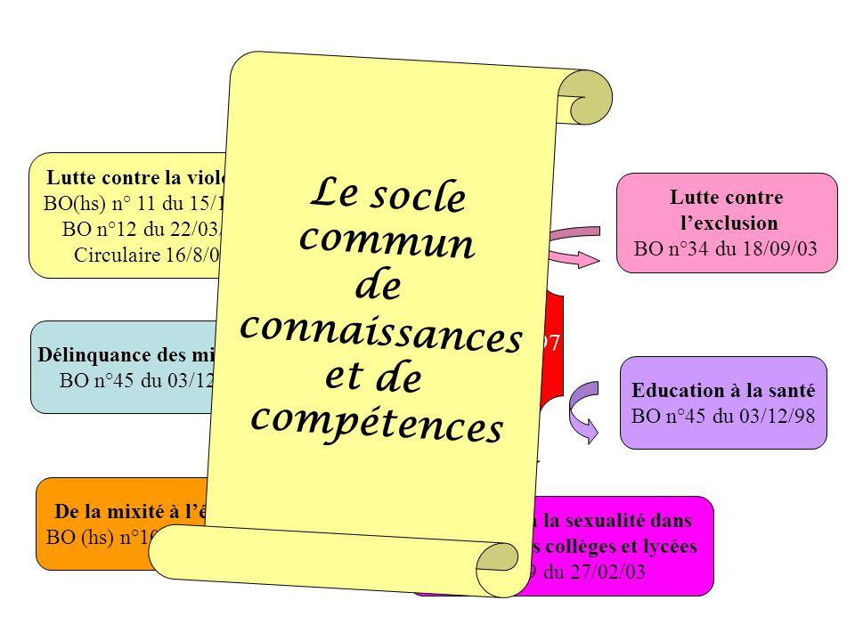 CESC Le socle commun de connaissances et de compétences