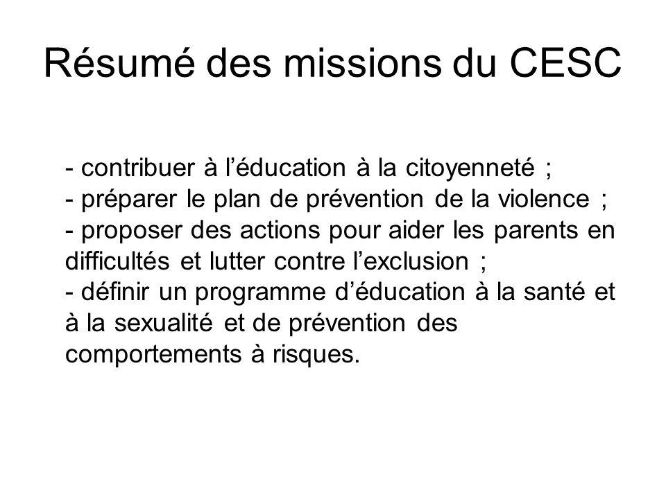 Résumé des missions du CESC