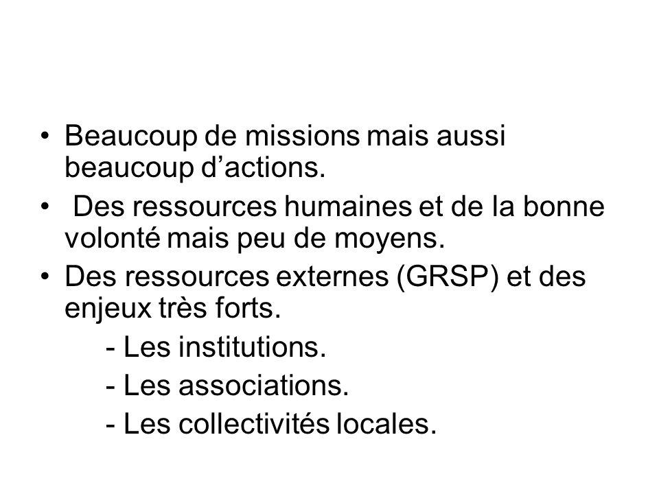 III ETAT DES LIEUX Beaucoup de missions mais aussi beaucoup d'actions.