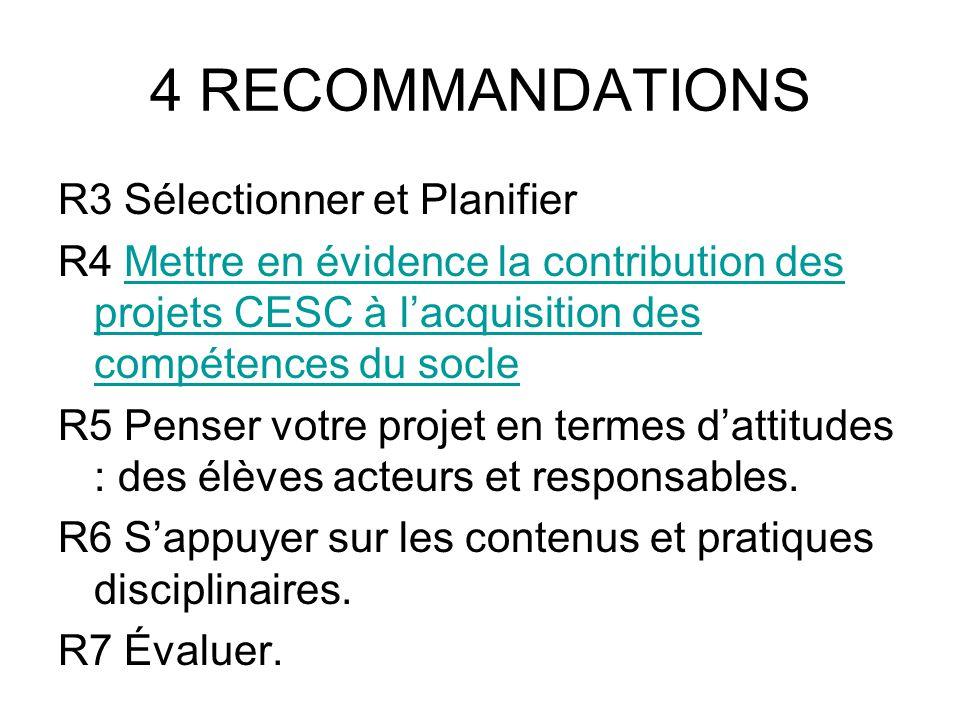 4 RECOMMANDATIONS R3 Sélectionner et Planifier