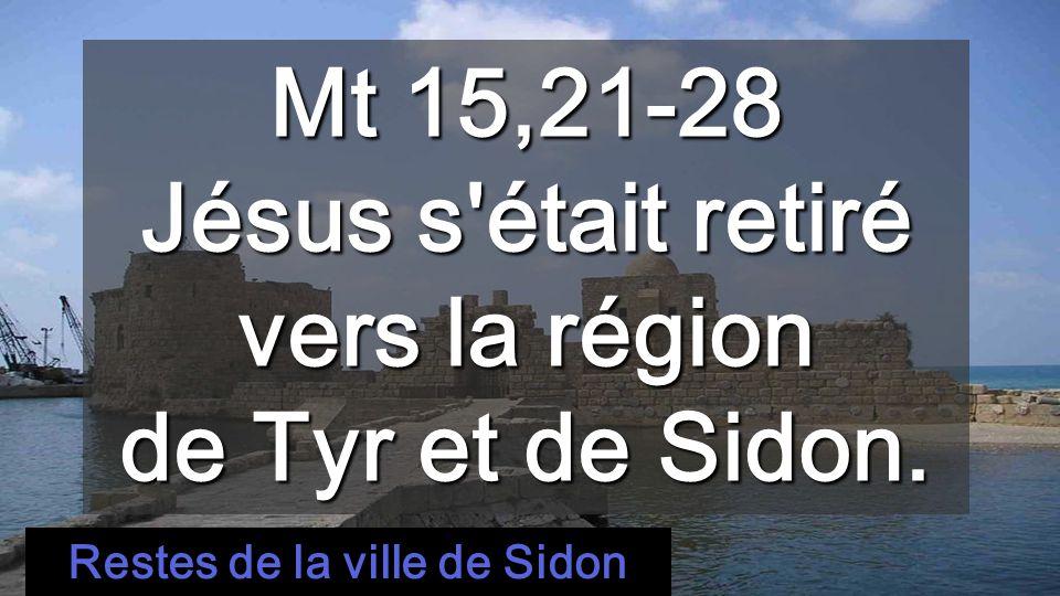 Mt 15,21-28 Jésus s était retiré vers la région de Tyr et de Sidon.