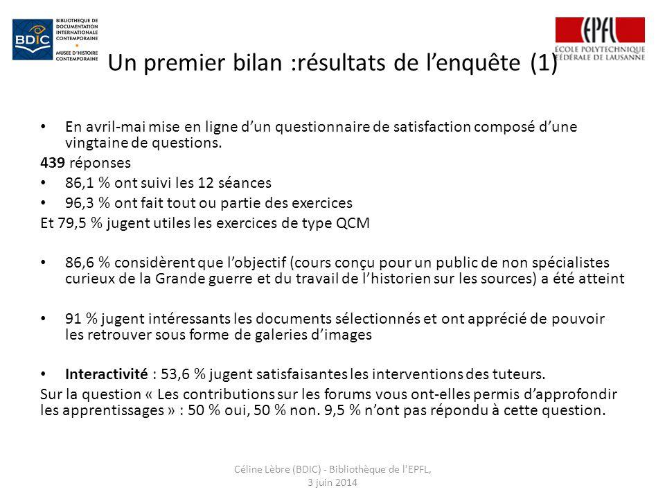 Un premier bilan :résultats de l'enquête (1)