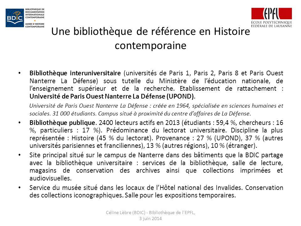 Une bibliothèque de référence en Histoire contemporaine