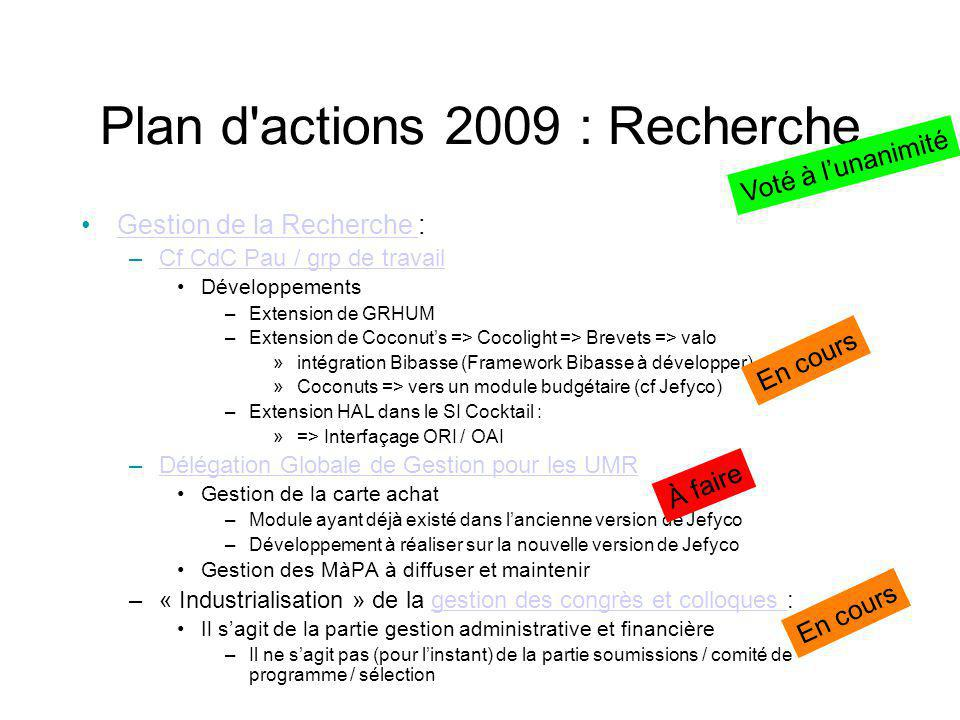 Plan d actions 2009 : Recherche