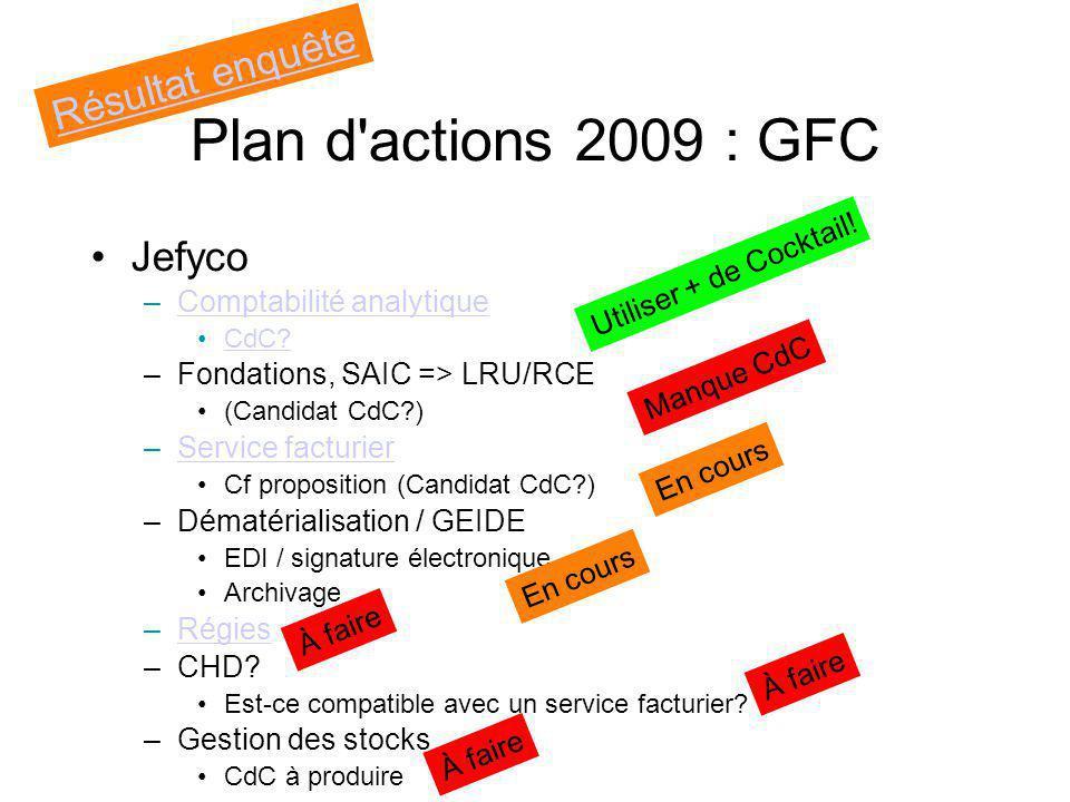 Plan d actions 2009 : GFC Résultat enquête Jefyco