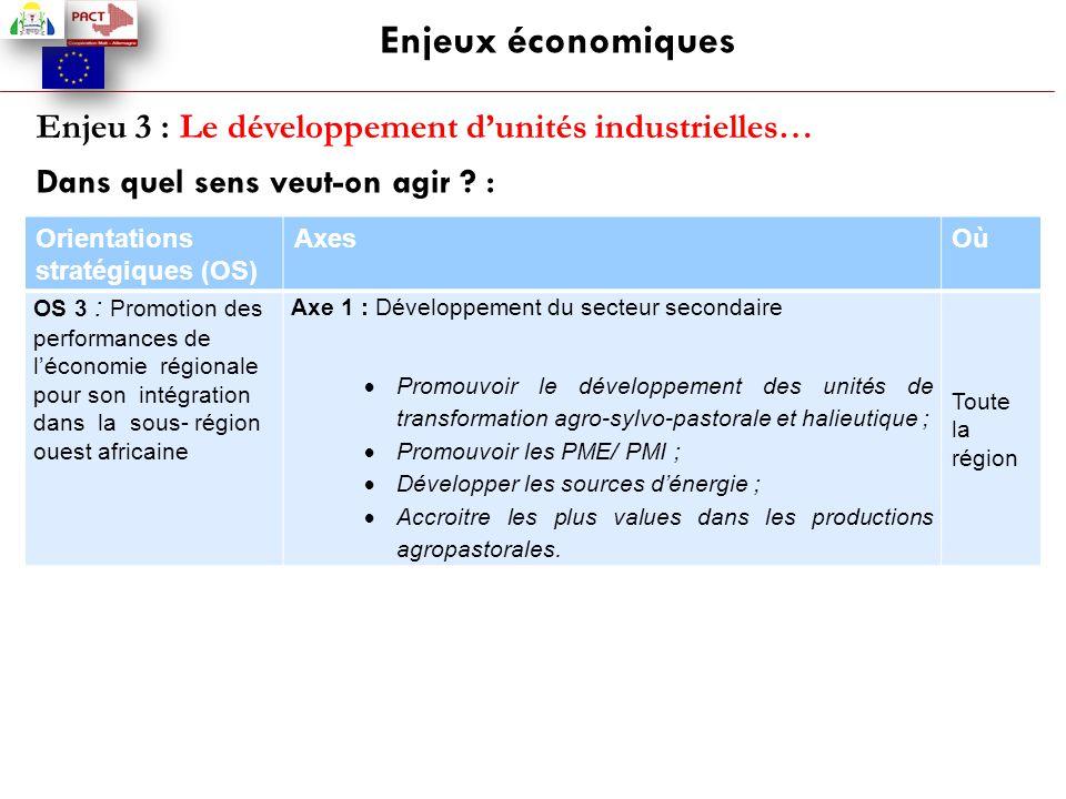 Enjeux économiques Enjeu 3 : Le développement d'unités industrielles…