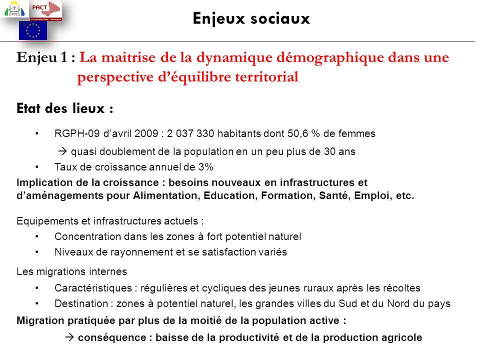 Enjeux sociaux Enjeu 1 : La maitrise de la dynamique démographique dans une perspective d'équilibre territorial.