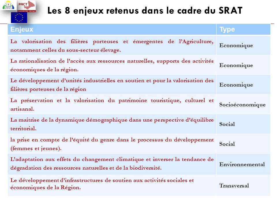 Les 8 enjeux retenus dans le cadre du SRAT