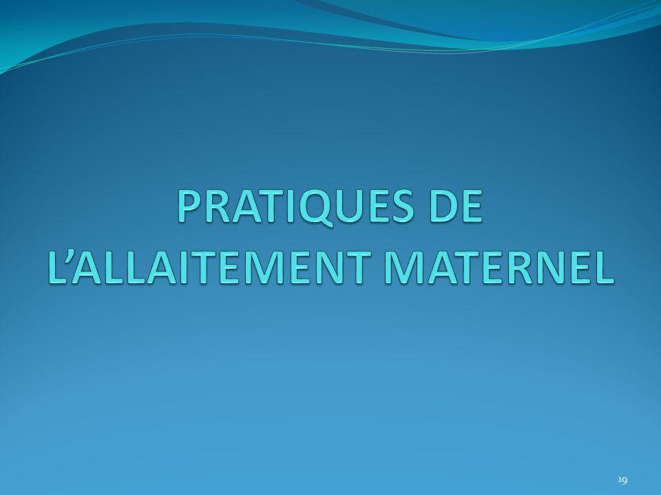 PRATIQUES DE L'ALLAITEMENT MATERNEL