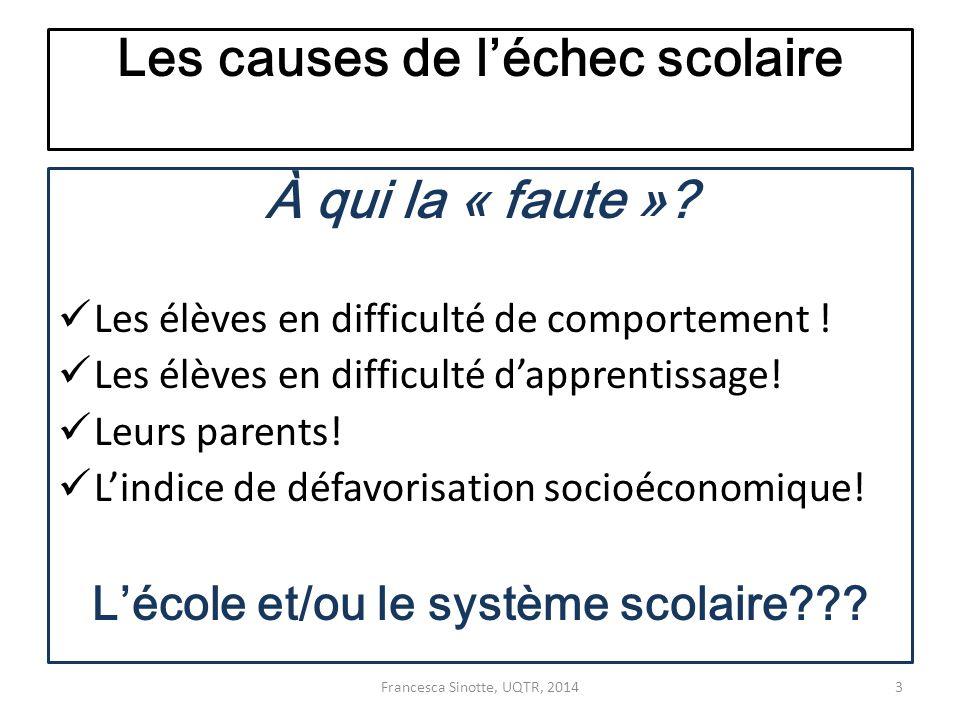 Les causes de l'échec scolaire