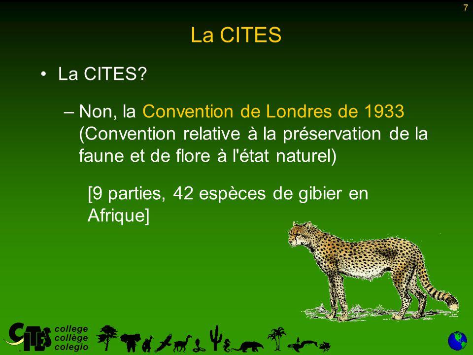La CITES La CITES Non, la Convention de Londres de 1933 (Convention relative à la préservation de la faune et de flore à l état naturel)