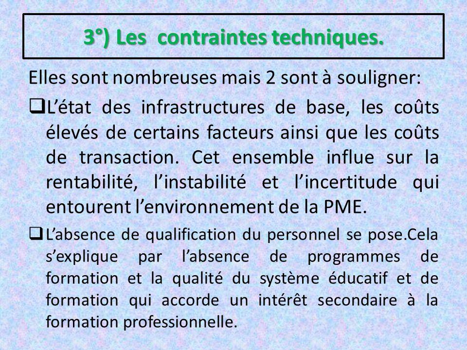 3°) Les contraintes techniques.