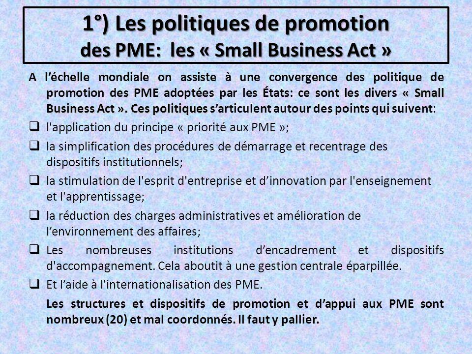 1°) Les politiques de promotion des PME: les « Small Business Act »