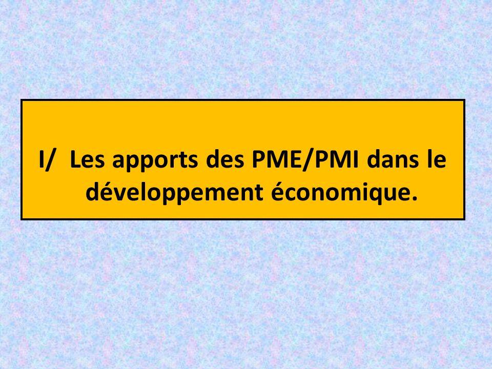 I/ Les apports des PME/PMI dans le développement économique.