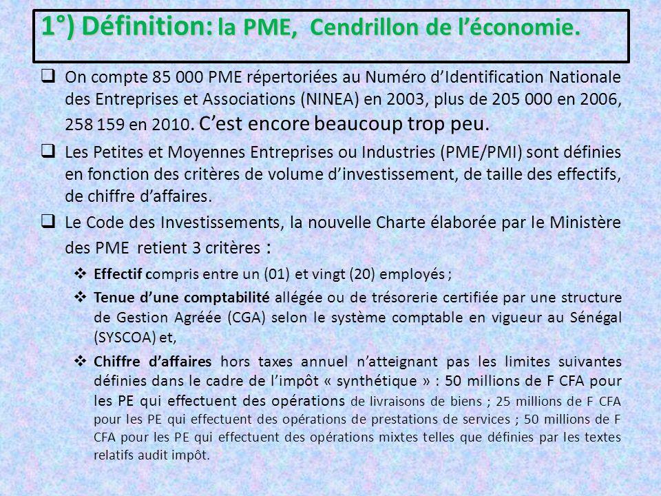 1°) Définition: la PME, Cendrillon de l'économie.