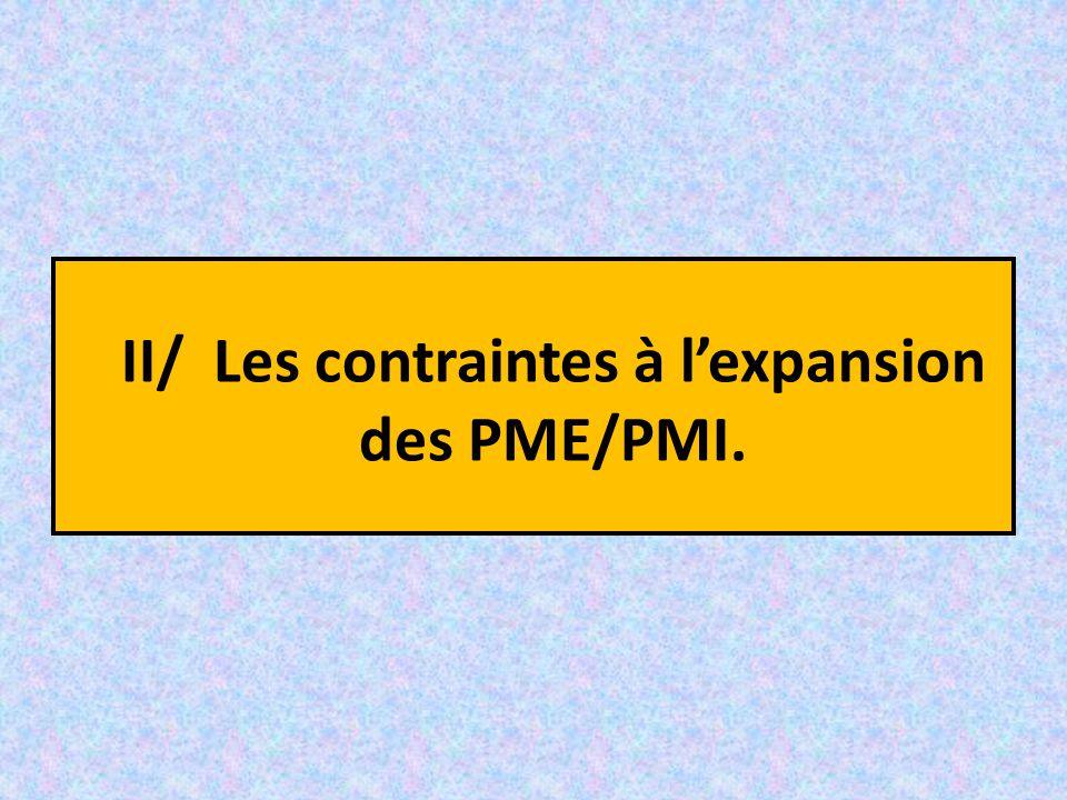 II/ Les contraintes à l'expansion des PME/PMI.