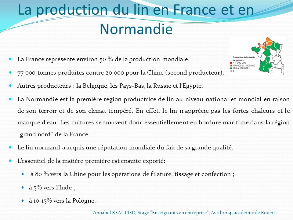 La production du lin en France et en Normandie