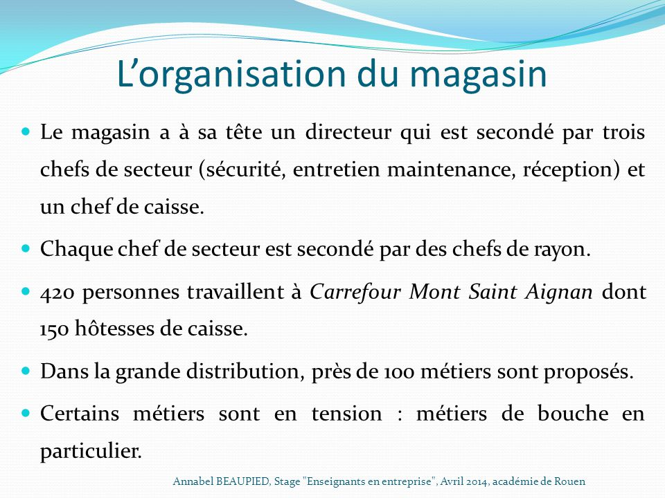 L'organisation du magasin