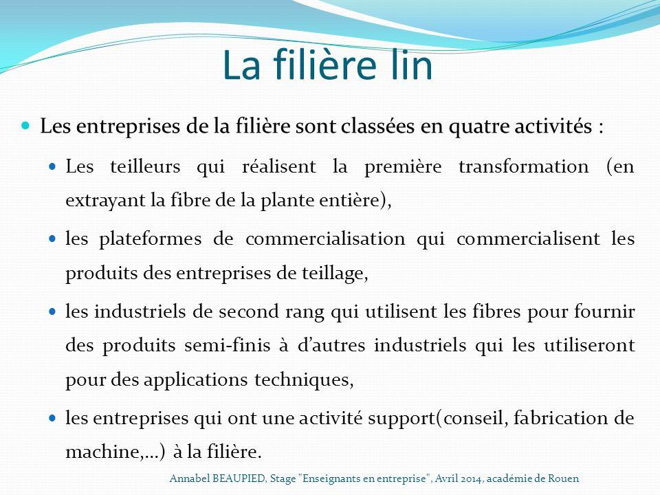 La filière lin Les entreprises de la filière sont classées en quatre activités :
