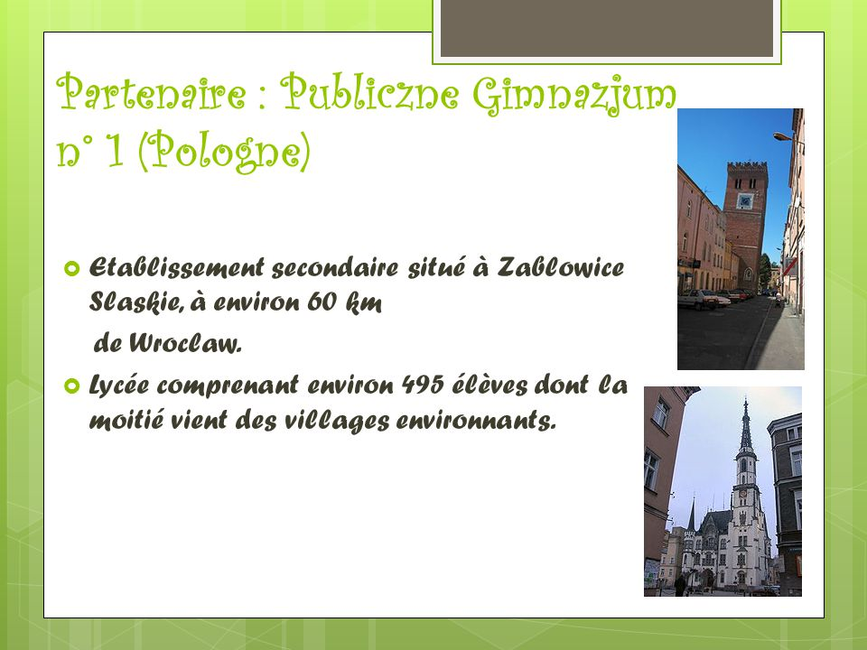 Partenaire : Publiczne Gimnazjum n° 1 (Pologne)