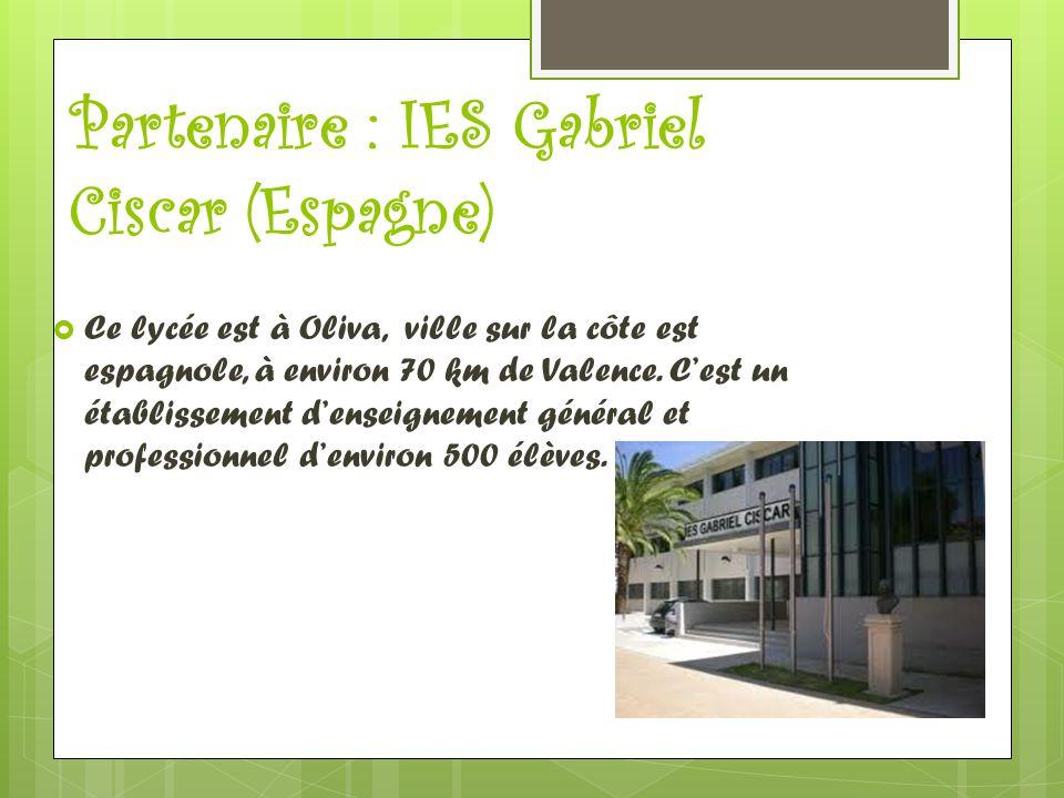 Partenaire : IES Gabriel Ciscar (Espagne)