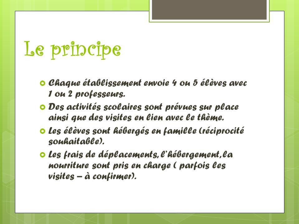 Le principe Chaque établissement envoie 4 ou 5 élèves avec 1 ou 2 professeurs.