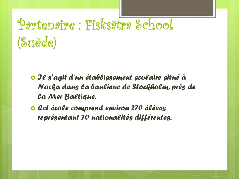 Partenaire : Fisksätra School (Suède)