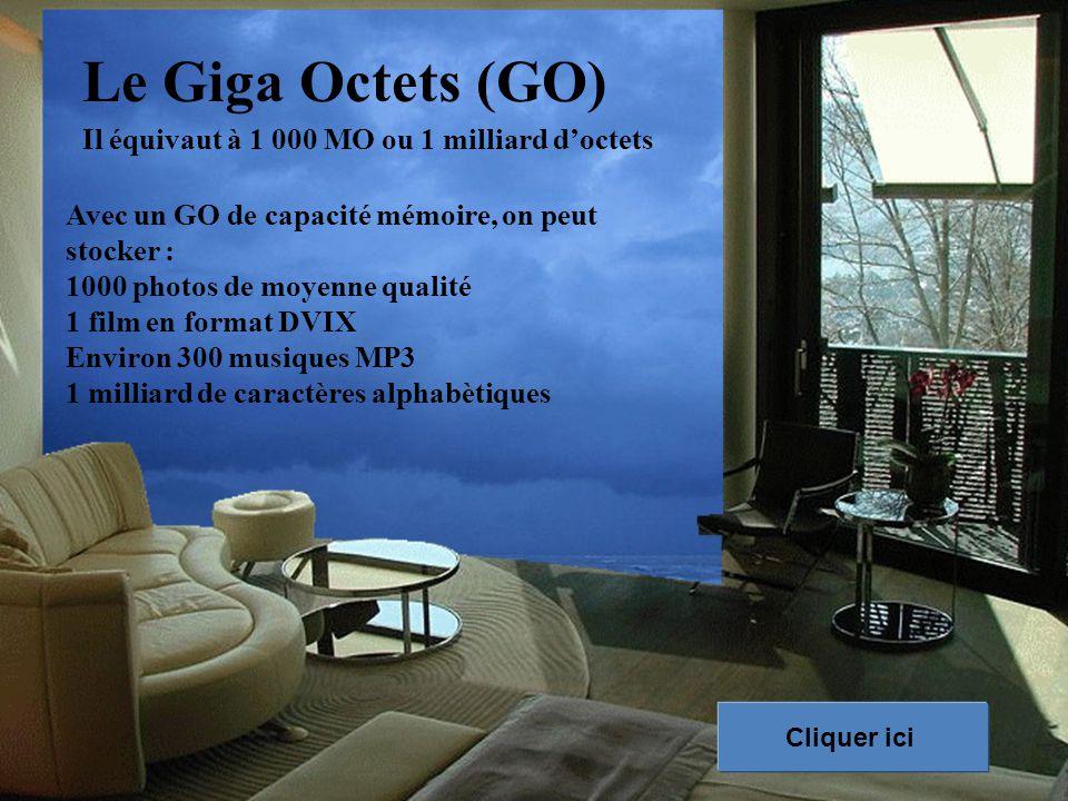 Le Giga Octets (GO) Il équivaut à 1 000 MO ou 1 milliard d'octets