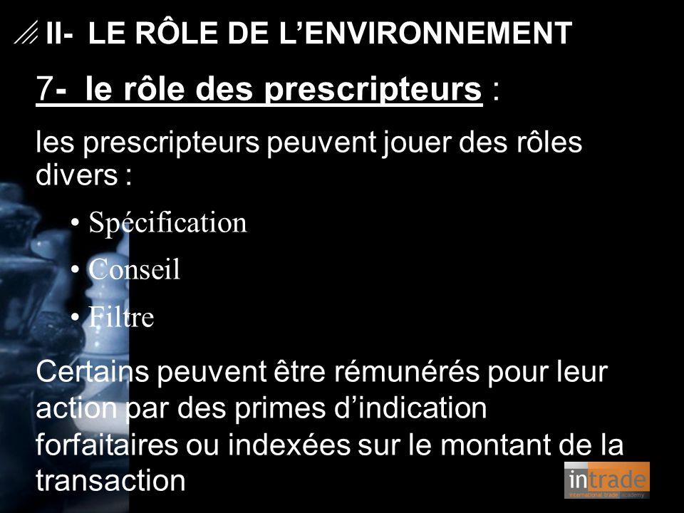 7- le rôle des prescripteurs :