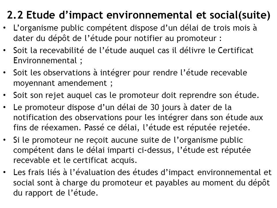 2.2 Etude d'impact environnemental et social(suite)